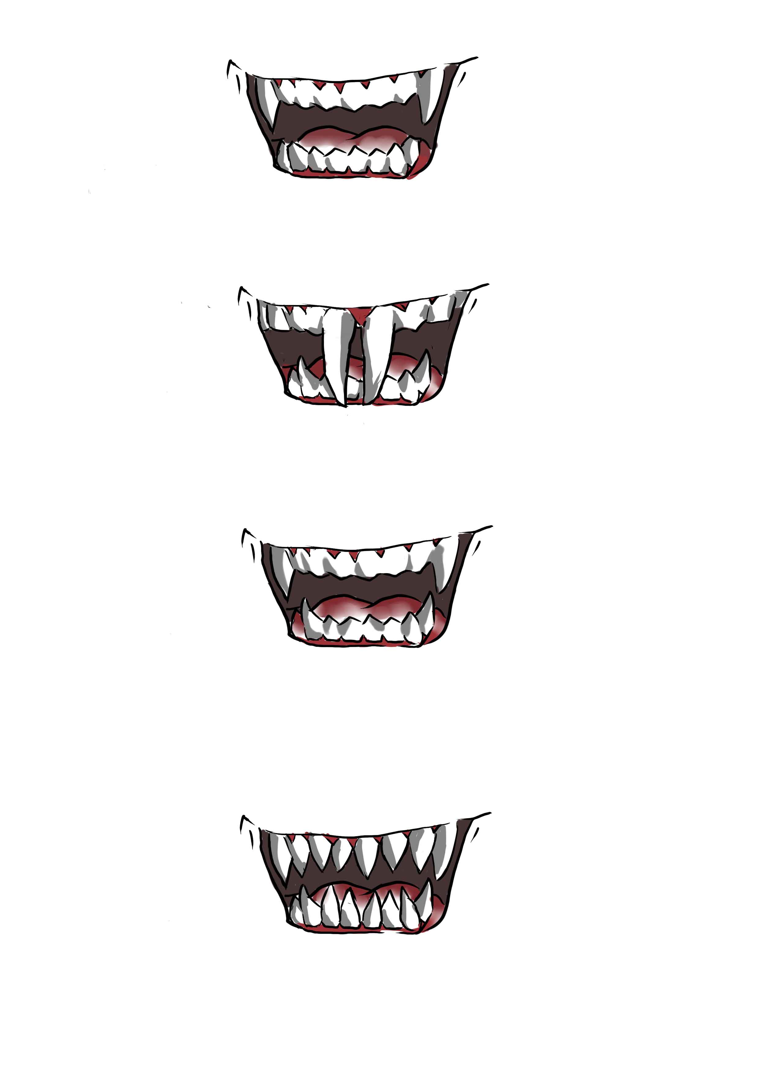 Sharp Teeth Drawing Very Sharp Canine Teeth